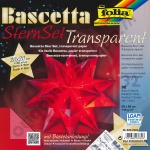Origami Bascetta Ster Transparant Rood 20 x 20 cm