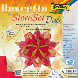 Origami Bascetta Ster Duo Papier Rood/Goud 20 x 20 cm
