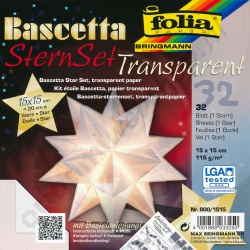 Origami Bascetta Ster Transparant Wit 15 x 15 cm