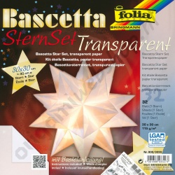 Origami Bascetta Ster Transparant Wit 30 x 30 cm