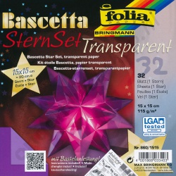Origami Bascetta Ster Transparant Paars 15 x 15 cm