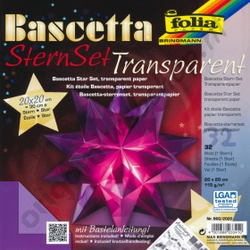 Origami Bascetta Ster Transparant Paars 20 x 20 cm